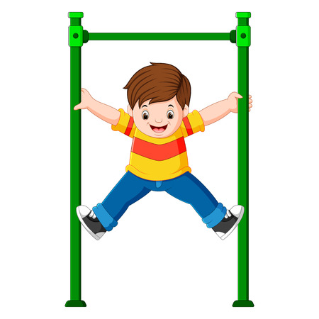 The boy is holding the monkey bar with his hands