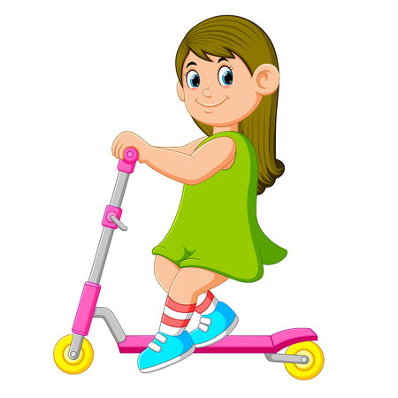 the girl with the green dress is playing on the scooter Stock Photo