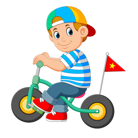 the boy uses the cap is playing with the little bicycle