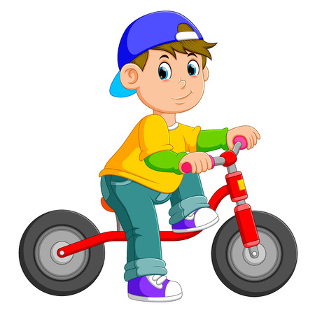 the boy is posing on the red bicycle