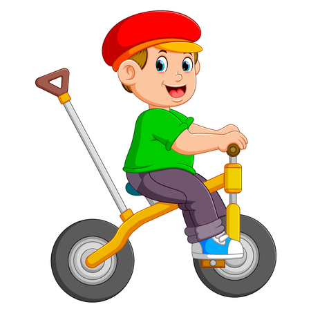 the boy is cycling on the yellow bicycle with the holder