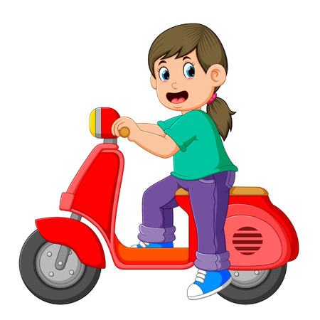 the girl is posing on the red scooter Stock Photo