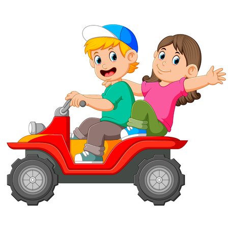 the boy and the girl are riding the ATV together Stock Photo