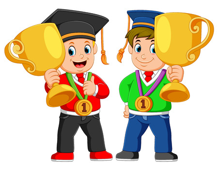 two boys is holding their big trophy on the graduations day 版權商用圖片