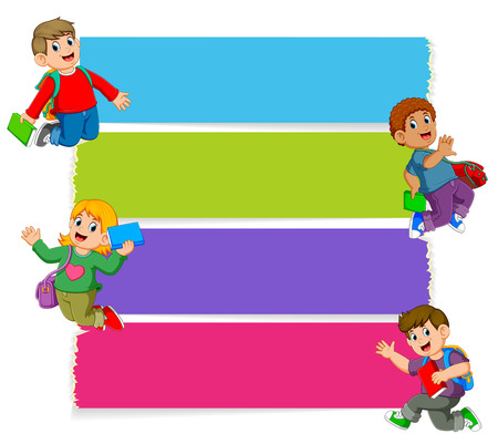 the collection of the blank board with the children holding the books Stockfoto - 122856216