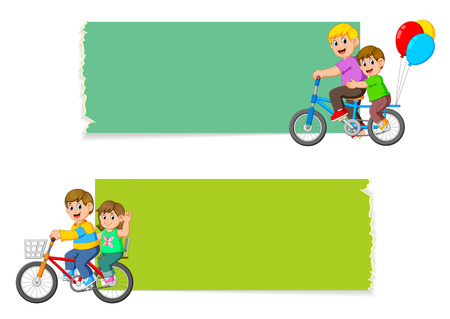 the collection of the blank board with the children riding the bicycle Stockfoto - 122856218