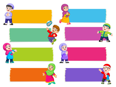 the collection of the blank board with the different color with the Islamic children Фото со стока