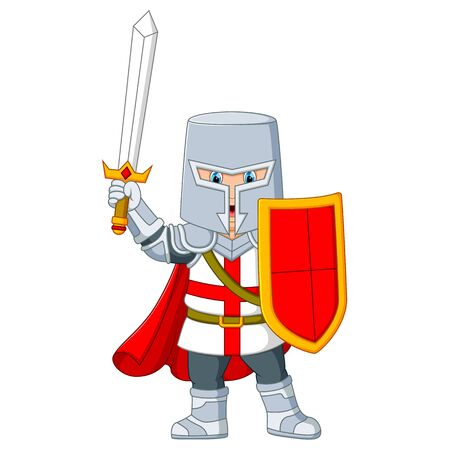 the knight holding a sword Vettoriali