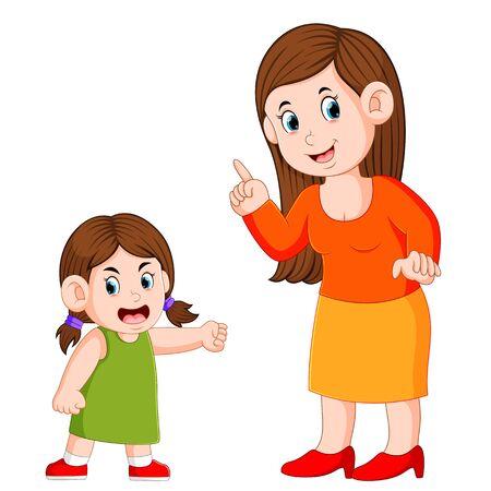 de vrouw vertelt iets als het meisje boos is Vector Illustratie