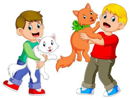 les garçons jouent avec leurs chats avec le visage heureux Vecteurs