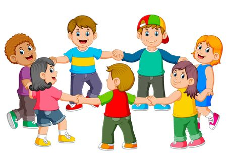 the children are holding to each other for making a round