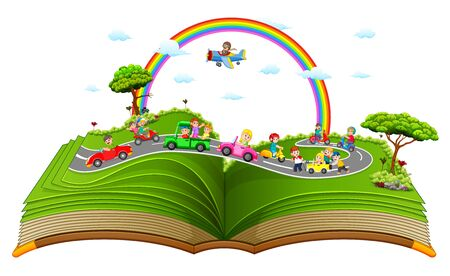 the wonderful storybook with the children playing in the car
