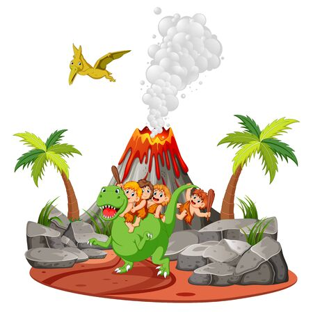 the caveman playing with the dinosaurs near the volcano Ilustração