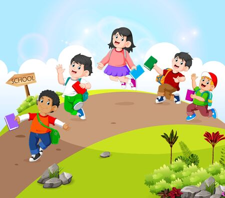 the children are walking on the road go to school Ilustracja