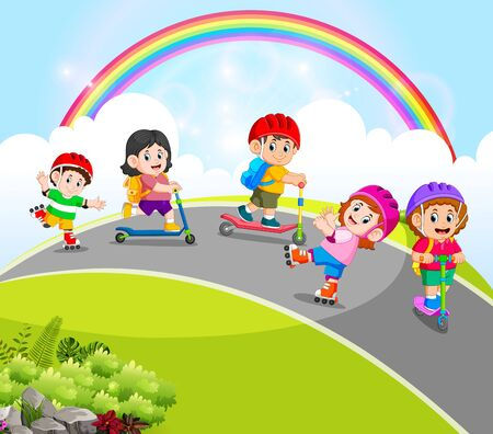 the children are playing with the scooter and roller skates in the road Ilustracja
