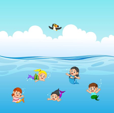 the mermaid are swimming in the ocean Ilustração