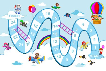 the snake and ladders game with the blue sky theme