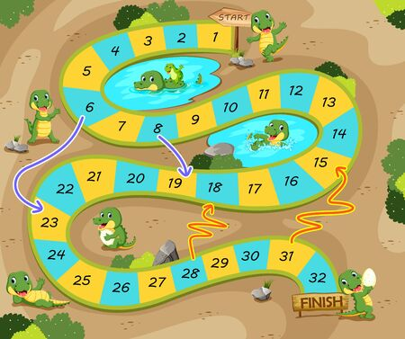 the snake and ladders game with the crocodile theme Ilustracja