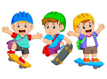 the children are playing the skate board with the different posing Stock Photo