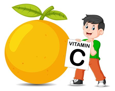 the boy beside the orange is holding the vitamin C board