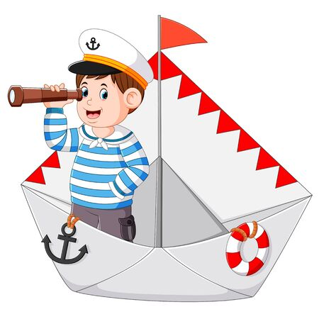 the sailor is holding the binoculars in the ship paper Stock Photo