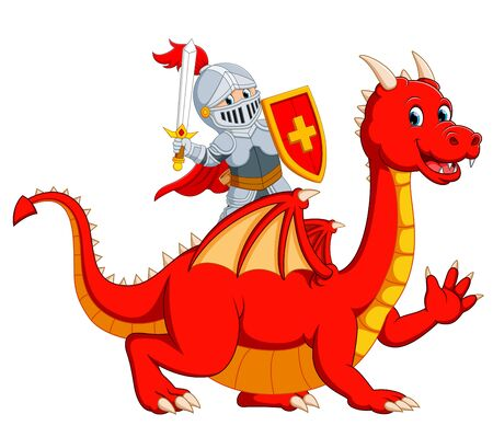 the knight holding sword on the big red dragon