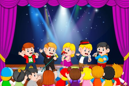 the children are singing and their friends enjoying it Stock Photo - 125333233