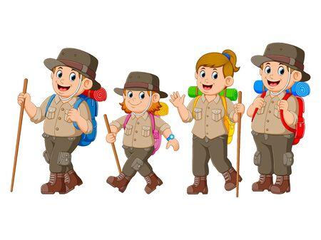 adventurer are doing the journey together Illustration