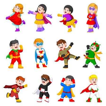 die Sammlung der Kinder trägt das Superheldenkostüm