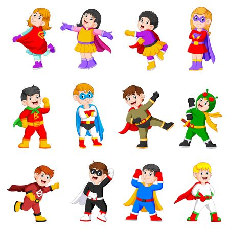 the collection of the children are using the superheroes costume Illustration