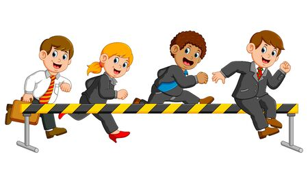 businessman and businesswoman are running and jumping on the obstacle Illustration