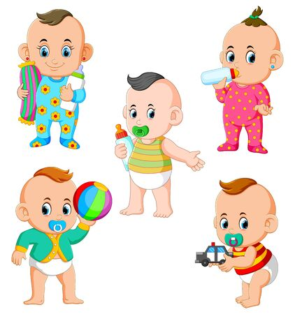 the collection of the babys activities in the different posing Stock Illustratie