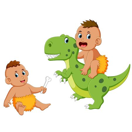 caveman baby is playing with the green dinosaur Stock Illustratie