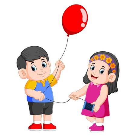 the children are holding the rope for the red balloon