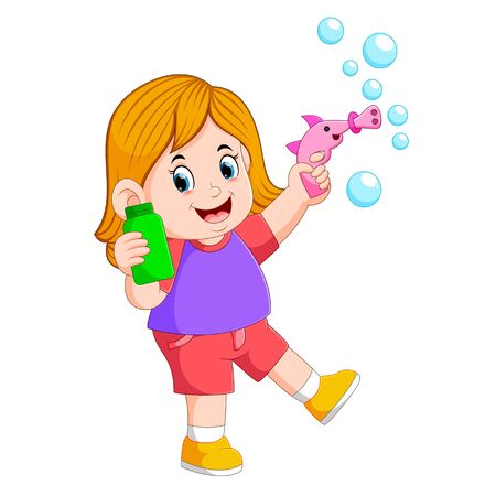 the girl is playing with the bubble and holding the green bottle