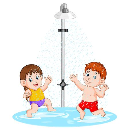 the children are playing under the shower