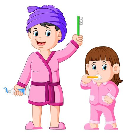 the girl is brushing her teeth with her mother beside her Stock Illustratie