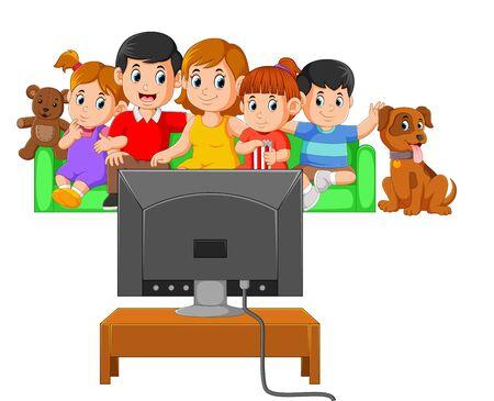 los niños con sus padres están viendo la televisión juntos Ilustración de vector