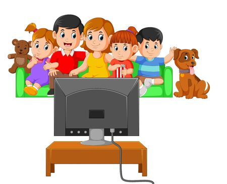 the children with their parents are watching the television together
