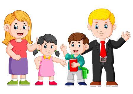la famille heureuse pose avec le visage heureux