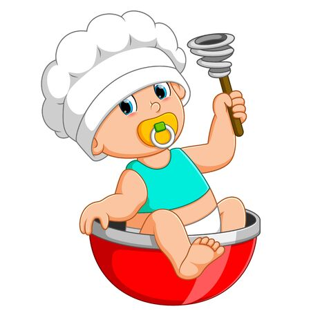 the baby chef is sitting on the red bow and holding manual mixer Stockfoto