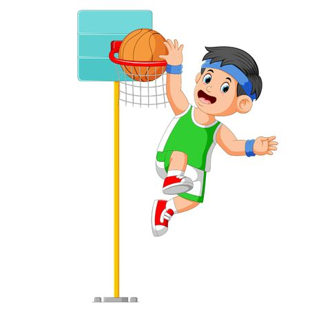 the boy are jumping for make the score in basket ball Stockfoto