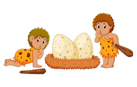 the caveman are standing beside the dinosaur eggs Stockfoto