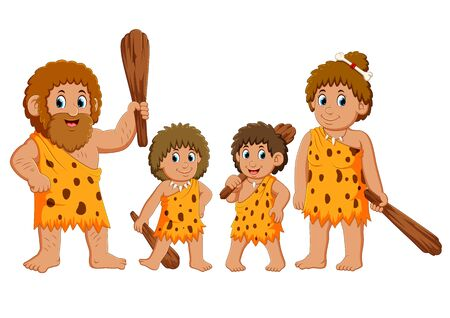 the caveman family is posing and smiling Stockfoto