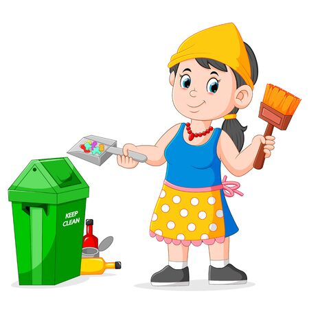 woman cleaning garbage and holding brush to garbage bin