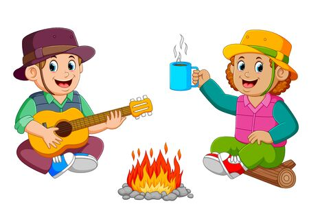 the children are enjoying the camp with playing the guitar with a cup of coffee Stockfoto