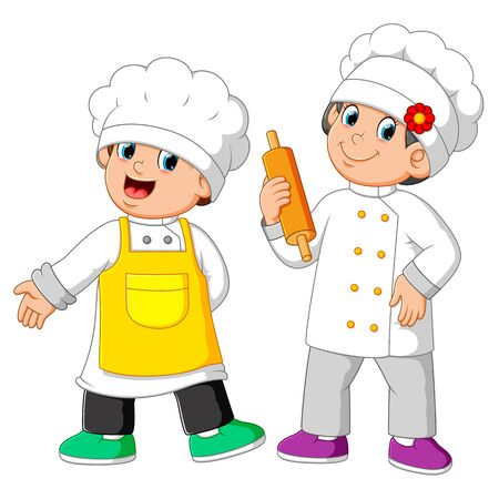 the two chef standing and holding rolling pin Stockfoto