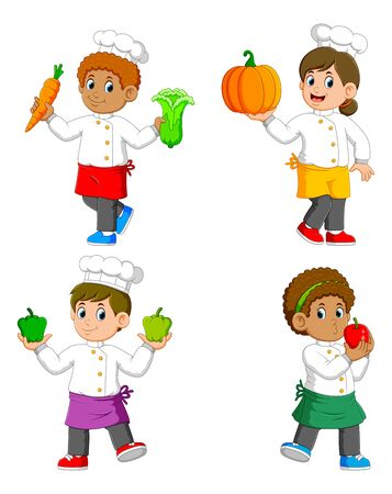 the collection of the chef holding the vegetables on their hands