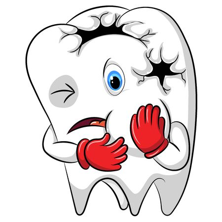the toothache mascot the big hole in his body Stockfoto