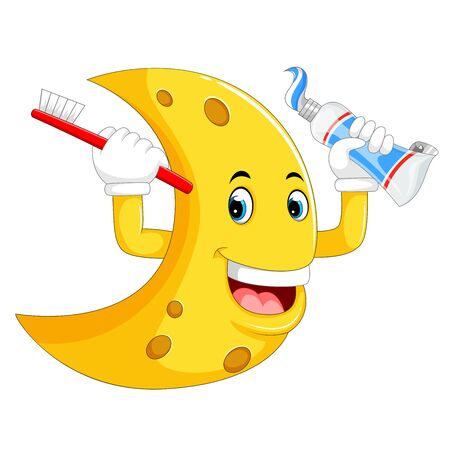 yellow moon character holding the toothbrush and toothpaste